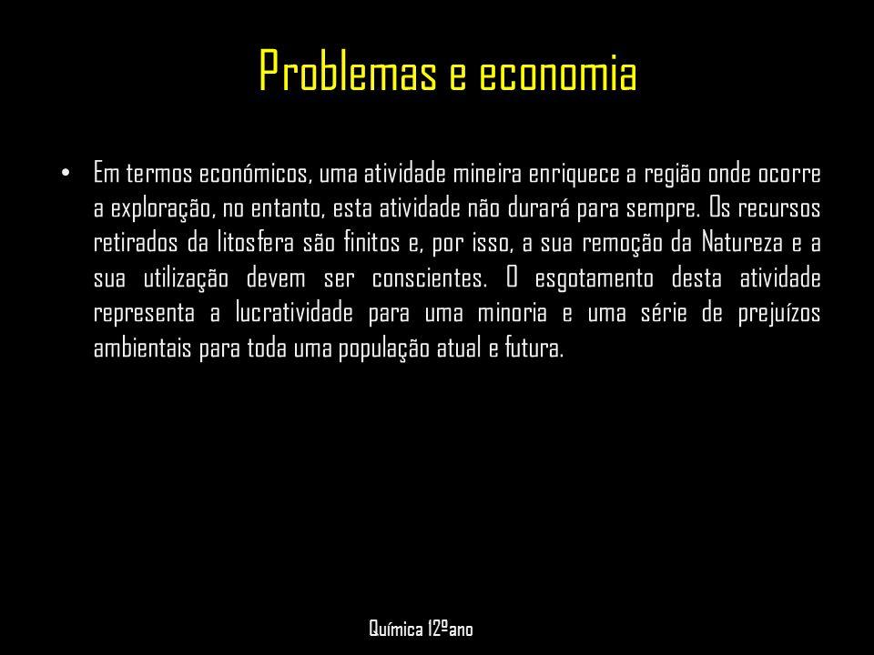 Problemas e economia • Em termos económicos, uma atividade mineira enriquece a região onde ocorre a exploração, no entanto, esta atividade não durará