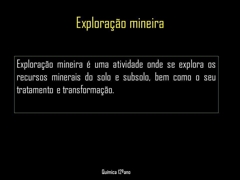 Exploração mineira Exploração mineira é uma atividade onde se explora os recursos minerais do solo e subsolo, bem como o seu tratamento e transformaçã