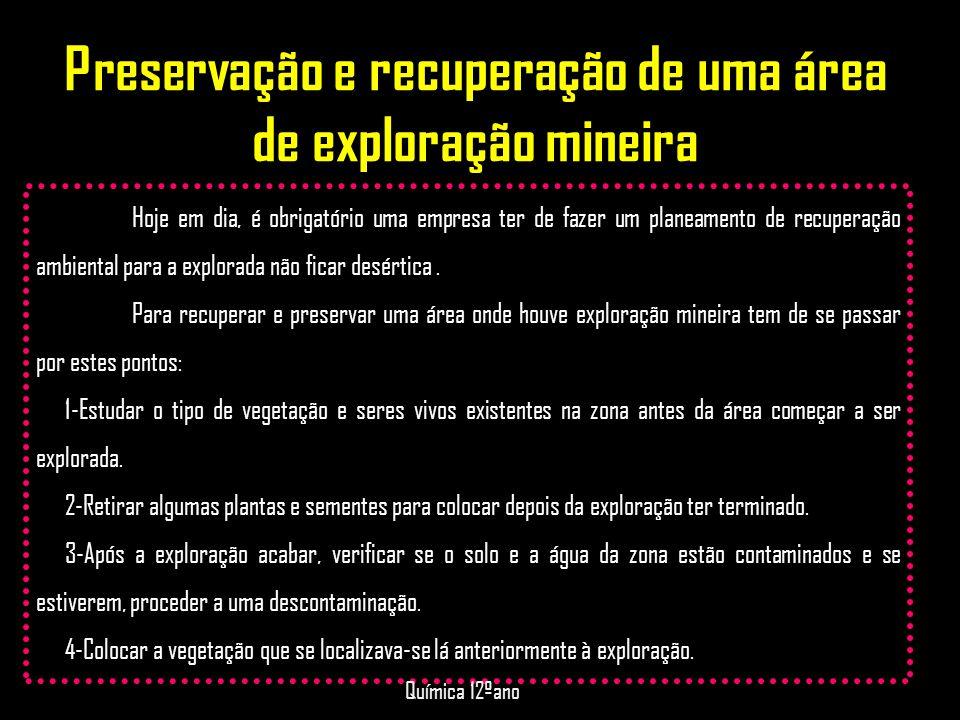 Preservação e recuperação de uma área de exploração mineira Hoje em dia, é obrigatório uma empresa ter de fazer um planeamento de recuperação ambienta