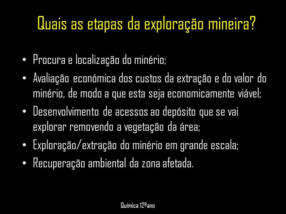 Quais as etapas da exploração mineira? • Procura e localização do minério; • Avaliação económica dos custos da extração e do valor do minério, de modo