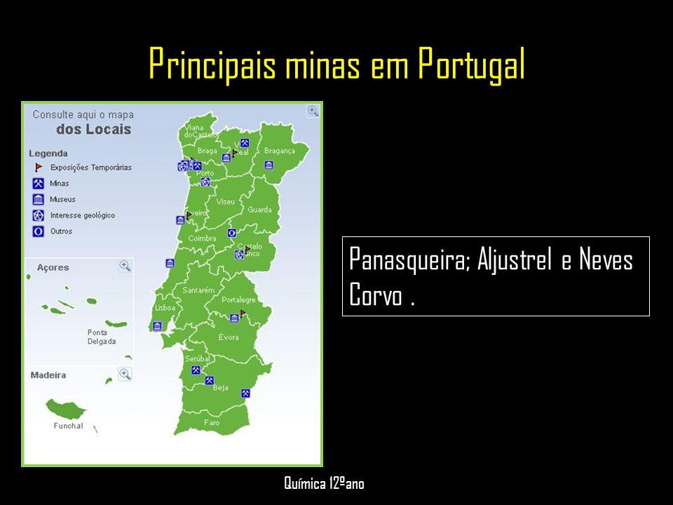 Principais minas em Portugal Panasqueira; Aljustrel e Neves Corvo. Química 12ºano