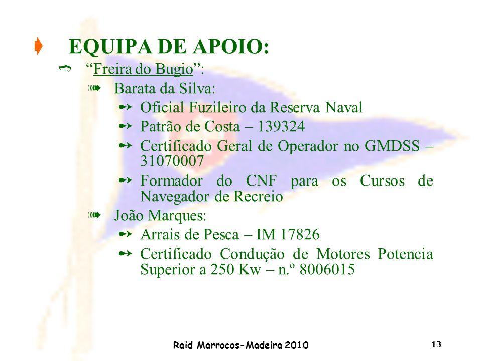 """Raid Marrocos-Madeira 2010 13 çEQUIPA DE APOIO: ì""""Freira do Bugio"""": àBarata da Silva: ûOficial Fuzileiro da Reserva Naval ûPatrão de Costa – 139324 ûC"""