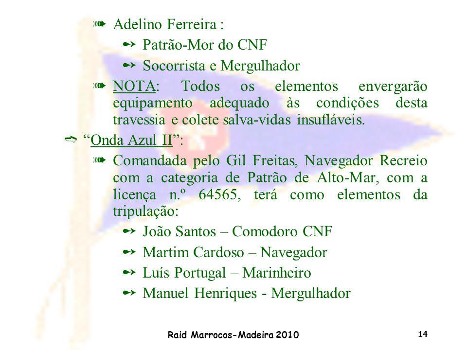 Raid Marrocos-Madeira 2010 14 àAdelino Ferreira : ûPatrão-Mor do CNF ûSocorrista e Mergulhador àNOTA: Todos os elementos envergarão equipamento adequa