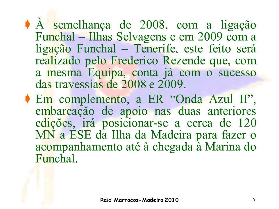 Raid Marrocos-Madeira 2010 5 çÀ semelhança de 2008, com a ligação Funchal – Ilhas Selvagens e em 2009 com a ligação Funchal – Tenerife, este feito ser