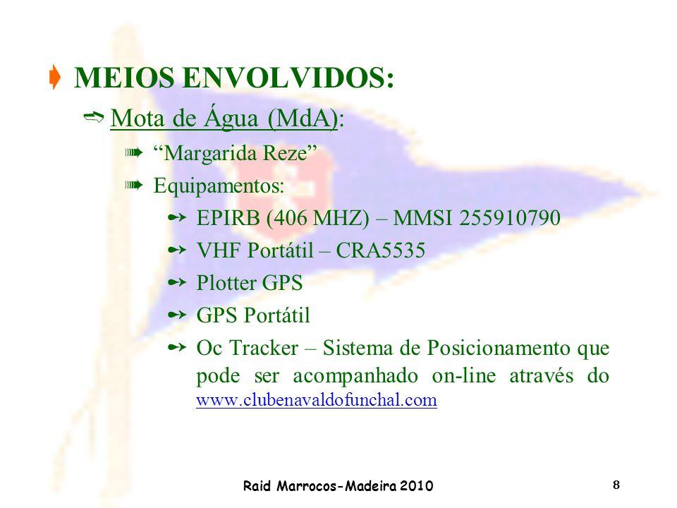 """Raid Marrocos-Madeira 2010 8 çMEIOS ENVOLVIDOS: ìMota de Água (MdA): à""""Margarida Reze"""" àEquipamentos: ûEPIRB (406 MHZ) – MMSI 255910790 ûVHF Portátil"""