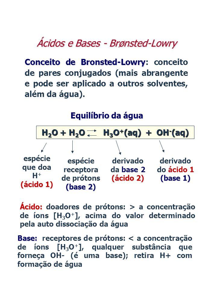 Conceito de Bronsted-Lowry Conceito de Bronsted-Lowry: conceito de pares conjugados (mais abrangente e pode ser aplicado a outros solventes, além da á