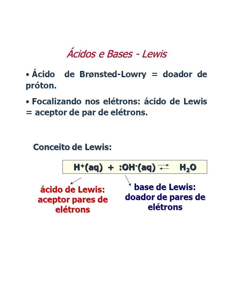 Conceito de Lewis: H + (aq) + :OH - (aq) H 2 O ácido de Lewis: aceptor pares de elétrons base de Lewis: doador de pares de elétrons Ácidos e Bases - L
