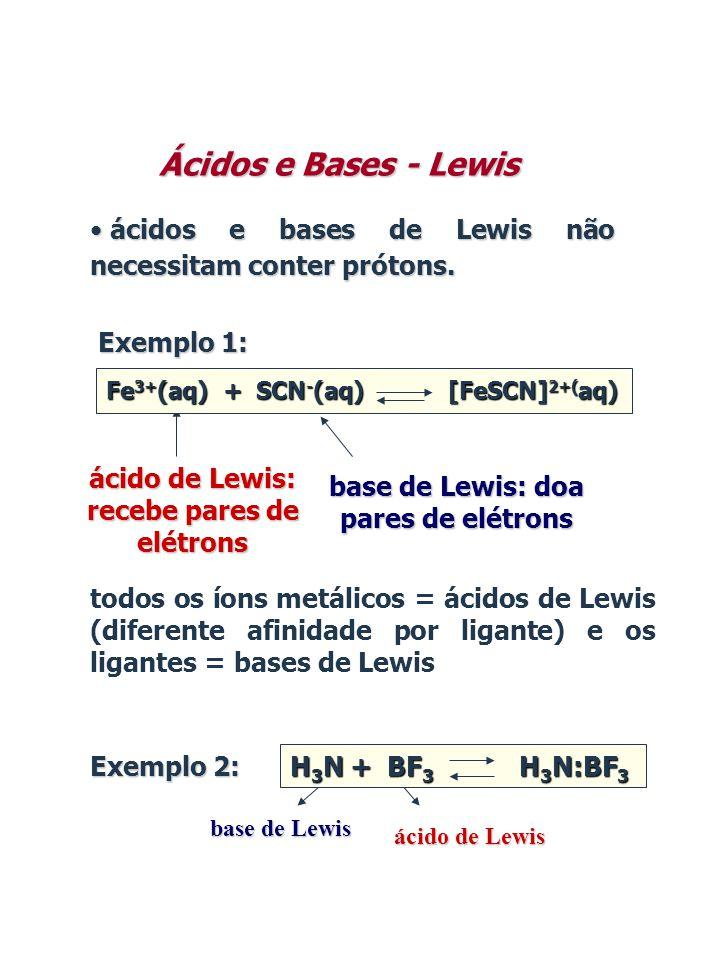 Ácidos e Bases - Lewis • ácidos e bases de Lewis não necessitam conter prótons. ácido de Lewis: recebe pares de elétrons base de Lewis: doa pares de e