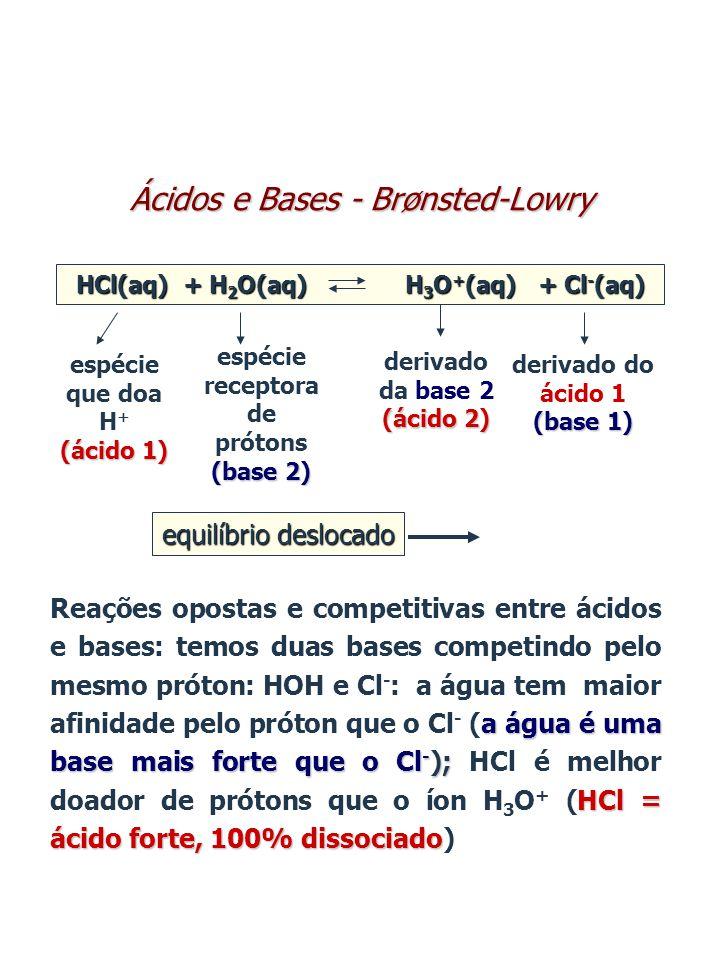 a água é uma base mais forte que o Cl - ); HCl = ácido forte, 100% dissociado Reações opostas e competitivas entre ácidos e bases: temos duas bases co