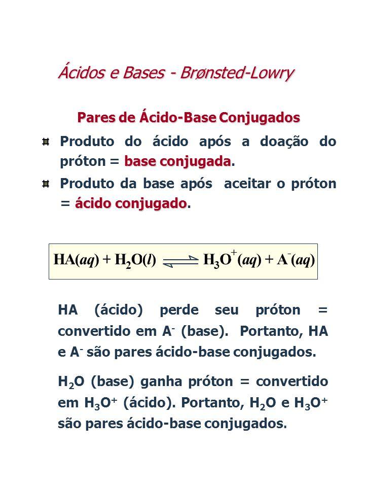 Pares de Ácido-Base Conjugados base conjugada Produto do ácido após a doação do próton = base conjugada. ácido conjugado Produto da base após aceitar