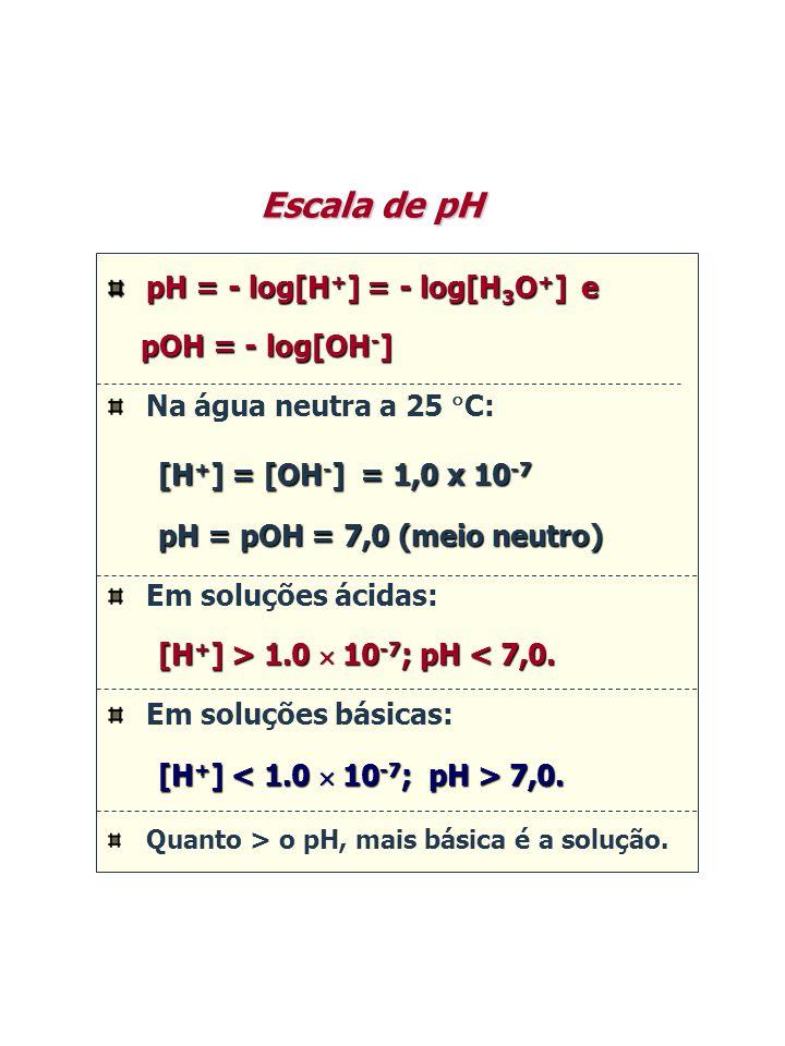 pH = - log[H + ] = - log[H 3 O + ] e pOH = - log[OH - ] pOH = - log[OH - ] Na água neutra a 25  C: [H + ] = [OH - ] = 1,0 x 10 -7 [H + ] = [OH - ] =