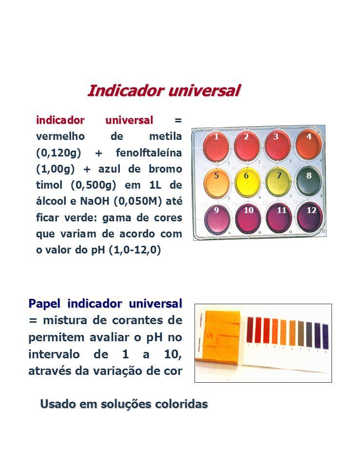 Indicador universal indicador universal indicador universal = vermelho de metila (0,120g) + fenolftaleína (1,00g) + azul de bromo timol (0,500g) em 1L