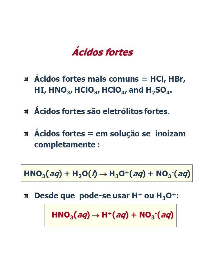 Ácidos fortes Ácidos fortes mais comuns = HCl, HBr, HI, HNO 3, HClO 3, HClO 4, and H 2 SO 4. Ácidos fortes são eletrólitos fortes. Ácidos fortes = em