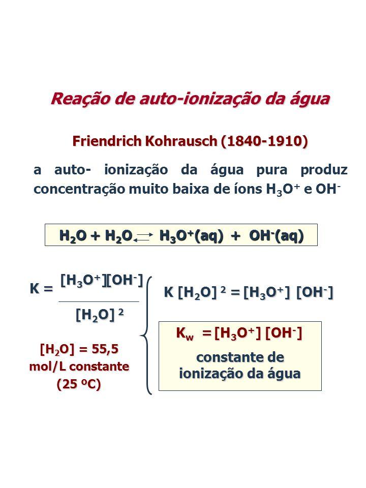 H 2 O + H 2 O H 3 O + (aq) + OH - (aq) Medida de condutividade elétrica: [H 3 O + ] = [OH - ] = 1,0 x 10 -7 mol/L 25 ºC K w = 1,0 x 10 -14 25 ºC constante de ionização da água constante de ionização da água Reação de auto-ionização da água K w = [H 3 O + ] [OH - ] = (1,0 x 10 -7 ) (1,0 x 10 -7 ) = 1,0 x 10 -14