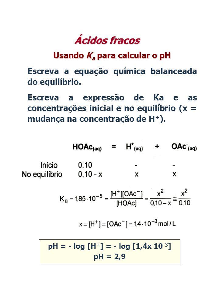 Usando K a para calcular o pH Escreva a equação química balanceada do equilíbrio. Escreva a expressão de Ka e as concentrações inicial e no equilíbrio