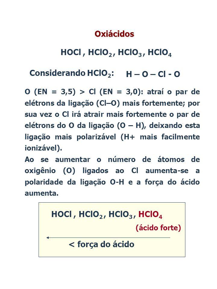 HOCl, HClO 2, HClO 3, HClO 4 < força do ácido (ácido forte) HOCl, HClO 2, HClO 3, HClO 4 Oxiácidos Considerando HClO 2 : H – O – Cl - O O (EN = 3,5) >