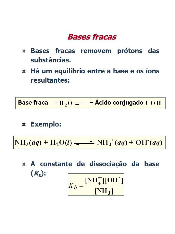Bases fracas removem prótons das substâncias. Há um equilíbrio entre a base e os íons resultantes: Exemplo: A constante de dissociação da base (K b ):