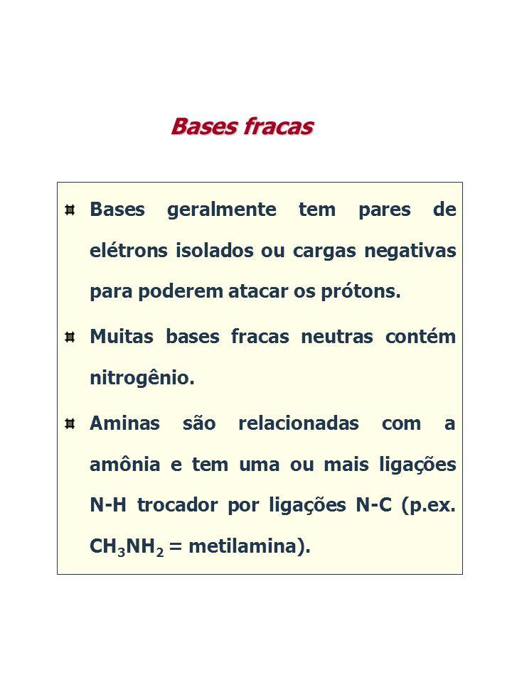 Bases geralmente tem pares de elétrons isolados ou cargas negativas para poderem atacar os prótons. Muitas bases fracas neutras contém nitrogênio. Ami