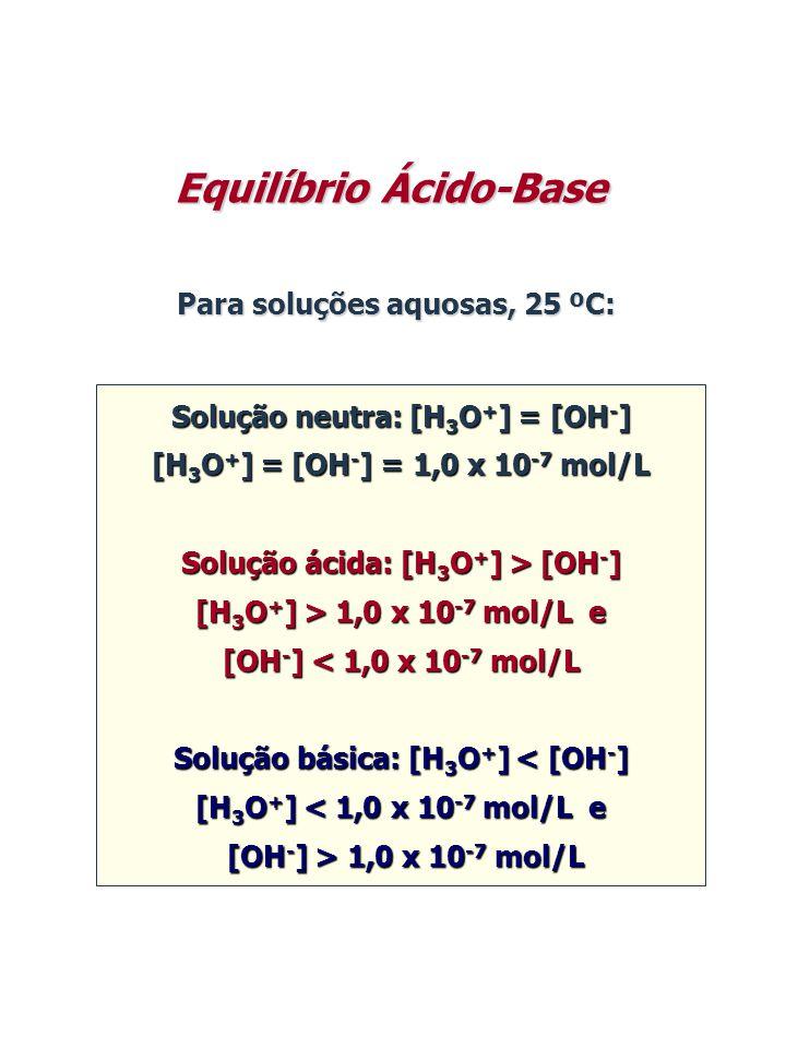 Para soluções aquosas, 25 ºC: Solução neutra: [H 3 O + ] = [OH - ] [H 3 O + ] = [OH - ] = 1,0 x 10 -7 mol/L Solução ácida: [H 3 O + ] > [OH - ] [H 3 O