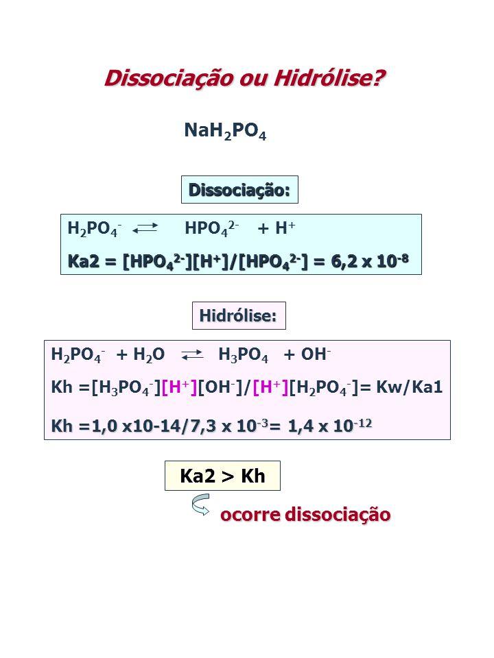 NaH 2 PO 4 Dissociação ou Hidrólise? Dissociação: Hidrólise: Ka2 > Kh H 2 PO 4 - HPO 4 2- + H + Ka2 = [HPO 4 2- ][H + ]/[HPO 4 2- ] = 6,2 x 10 -8 H 2