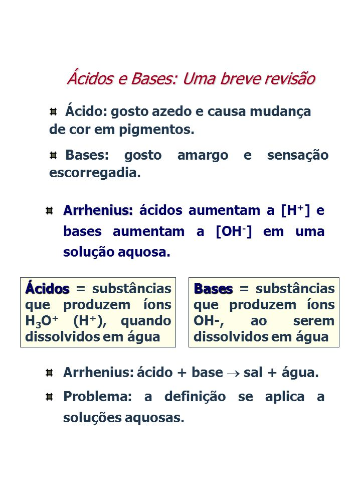HCl(aq) + H 2 O(aq) H 3 O + (aq) + Cl - (aq) HCl em água= ácido forte (100% dissociado) Arrhenius NaOH(aq) + H 2 O(aq) Na + (aq) + OH - (aq) NaOH em água= base forte (100% dissociada) Ácidos e Bases - Exemplos