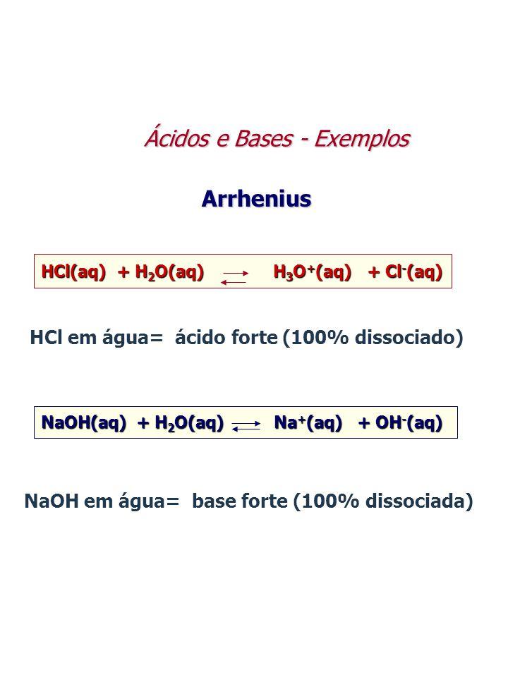 HCl(aq) + H 2 O(aq) H 3 O + (aq) + Cl - (aq) HCl em água= ácido forte (100% dissociado) Arrhenius NaOH(aq) + H 2 O(aq) Na + (aq) + OH - (aq) NaOH em á
