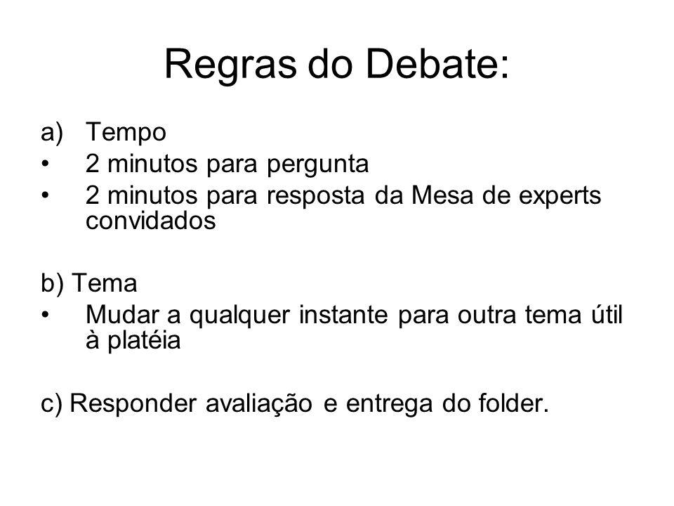 Regras do Debate: a)Tempo •2 minutos para pergunta •2 minutos para resposta da Mesa de experts convidados b) Tema •Mudar a qualquer instante para outr