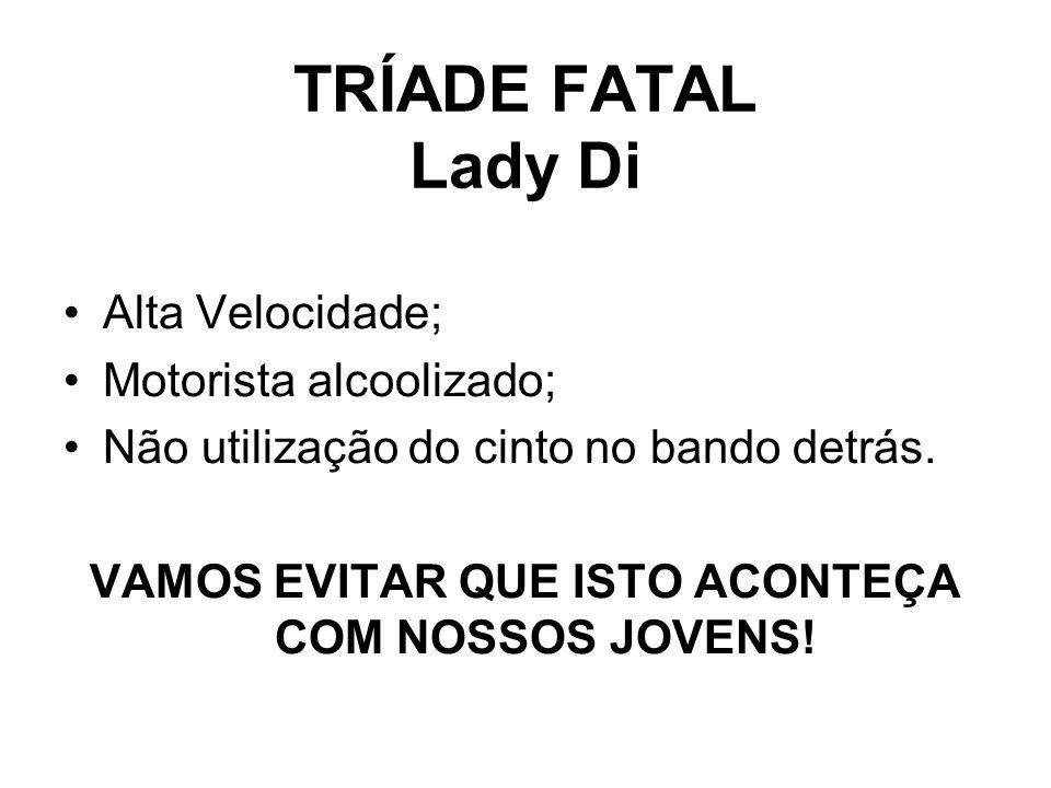 TRÍADE FATAL Lady Di •Alta Velocidade; •Motorista alcoolizado; •Não utilização do cinto no bando detrás. VAMOS EVITAR QUE ISTO ACONTEÇA COM NOSSOS JOV