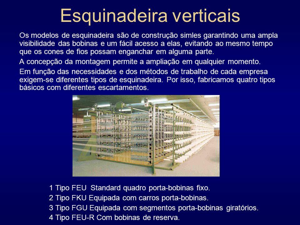 Esquinadeira verticais Os modelos de esquinadeira são de construção simles garantindo uma ampla visibilidade das bobinas e um fácil acesso a elas, evitando ao mesmo tempo que os cones de fios possam enganchar em alguma parte.