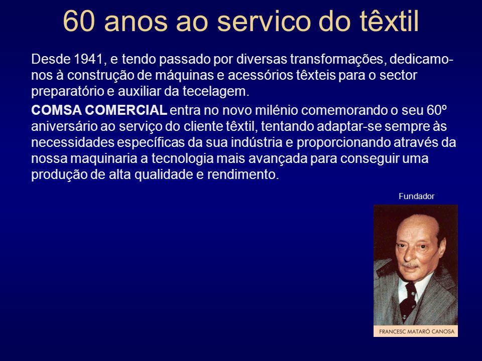60 anos ao servico do têxtil Desde 1941, e tendo passado por diversas transformações, dedicamo- nos à construção de máquinas e acessórios têxteis para o sector preparatório e auxiliar da tecelagem.