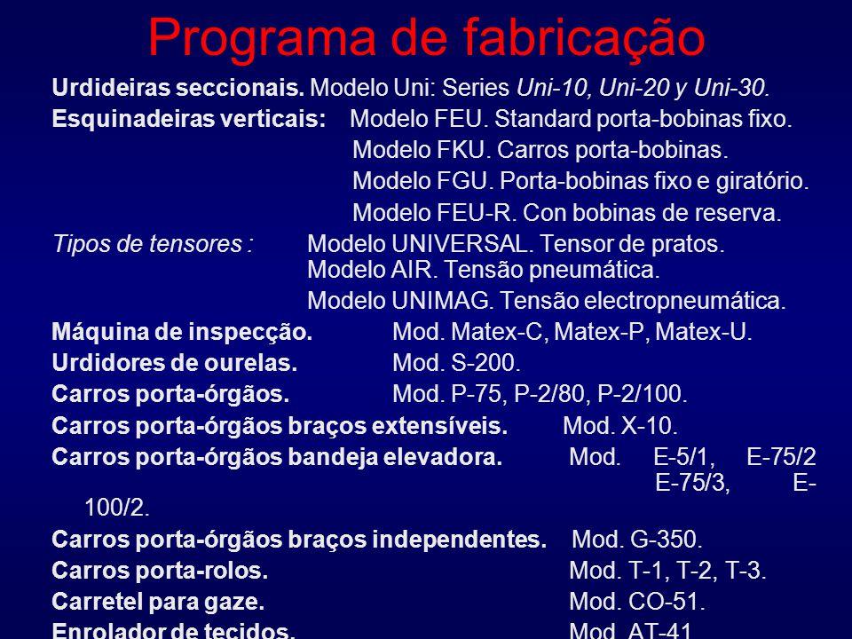 Programa de fabricação Urdideiras seccionais. Modelo Uni: Series Uni-10, Uni-20 y Uni-30.
