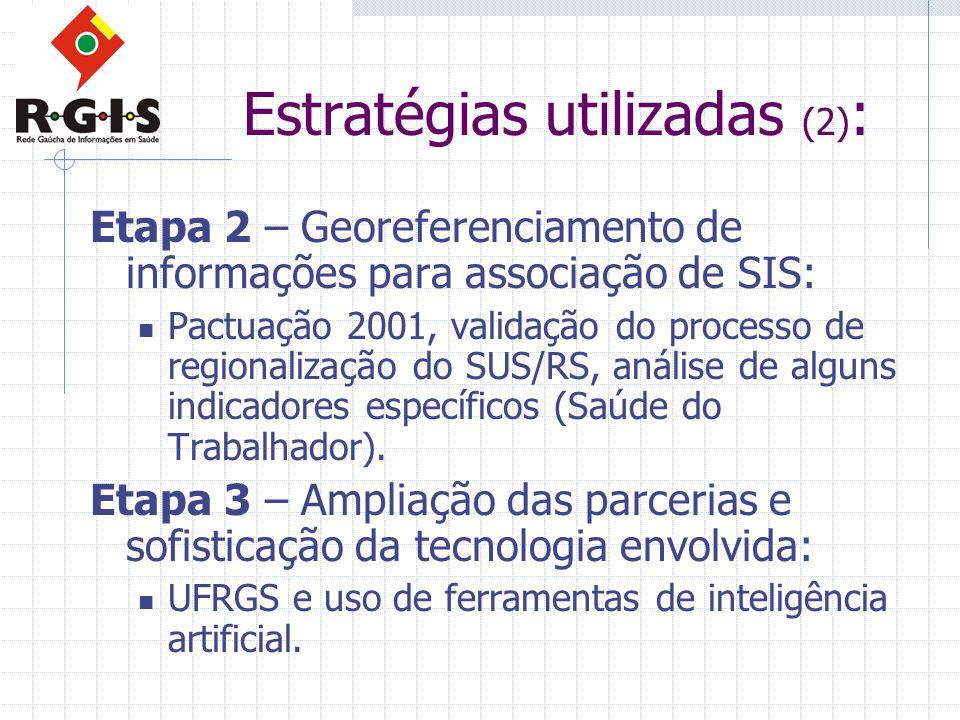 Estratégias utilizadas (2) : Etapa 2 – Georeferenciamento de informações para associação de SIS:  Pactuação 2001, validação do processo de regionalização do SUS/RS, análise de alguns indicadores específicos (Saúde do Trabalhador).