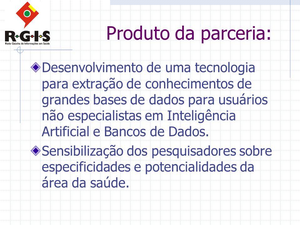 Produto da parceria: Desenvolvimento de uma tecnologia para extração de conhecimentos de grandes bases de dados para usuários não especialistas em Inteligência Artificial e Bancos de Dados.