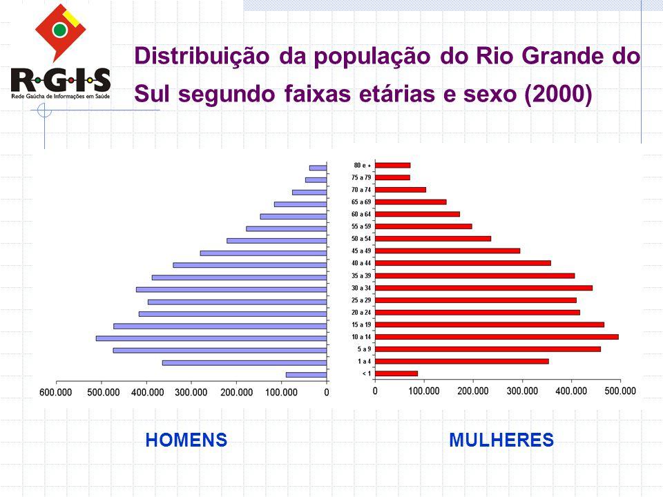 Distribuição da população do Rio Grande do Sul segundo faixas etárias e sexo (2000) HOMENSMULHERES