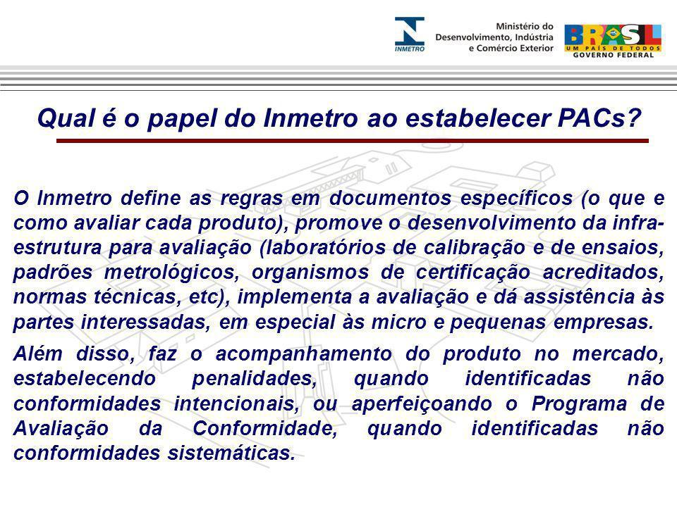 Qual é o papel do Inmetro ao estabelecer PACs.