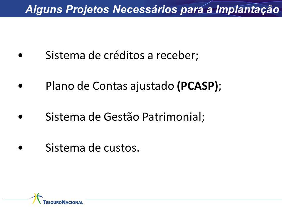 Alguns Projetos Necessários para a Implantação •Sistema de créditos a receber; •Plano de Contas ajustado (PCASP); •Sistema de Gestão Patrimonial; •Sis