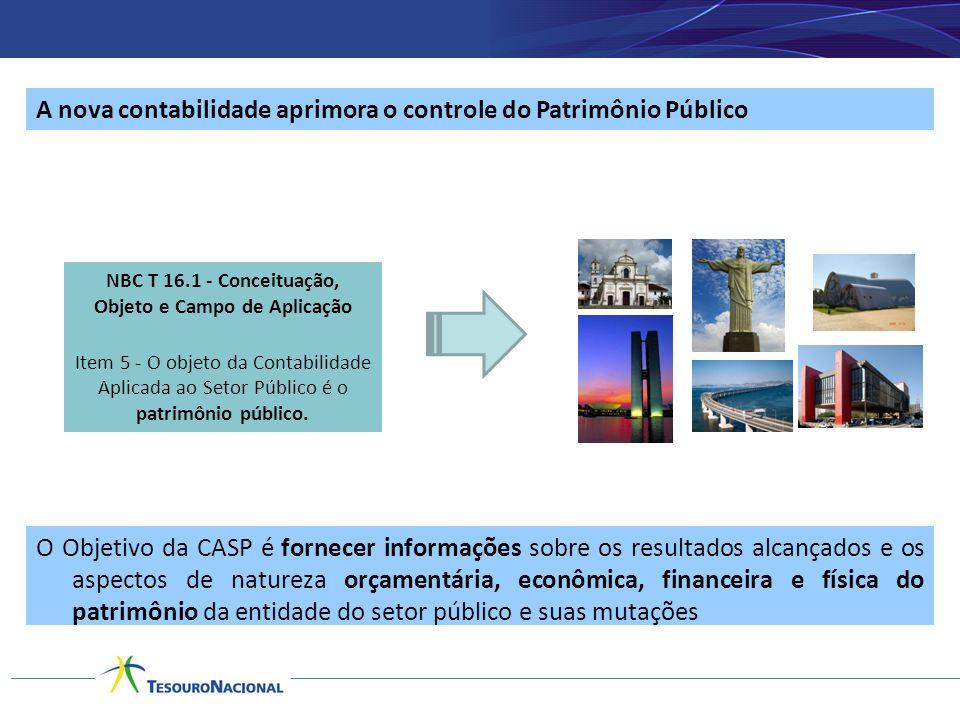 A nova contabilidade aprimora o controle do Patrimônio Público O Objetivo da CASP é fornecer informações sobre os resultados alcançados e os aspectos
