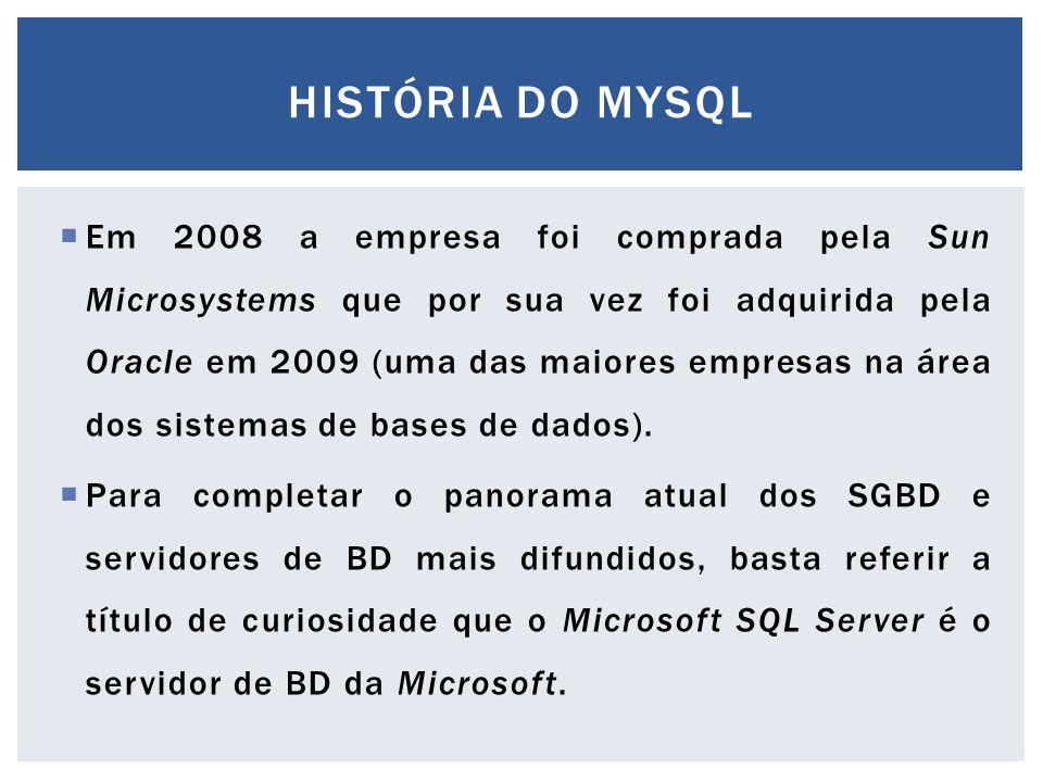  Em 2008 a empresa foi comprada pela Sun Microsystems que por sua vez foi adquirida pela Oracle em 2009 (uma das maiores empresas na área dos sistema