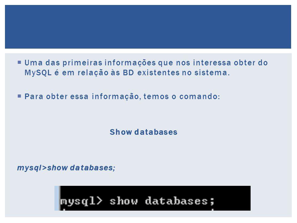  Uma das primeiras informações que nos interessa obter do MySQL é em relação às BD existentes no sistema.  Para obter essa informação, temos o coman