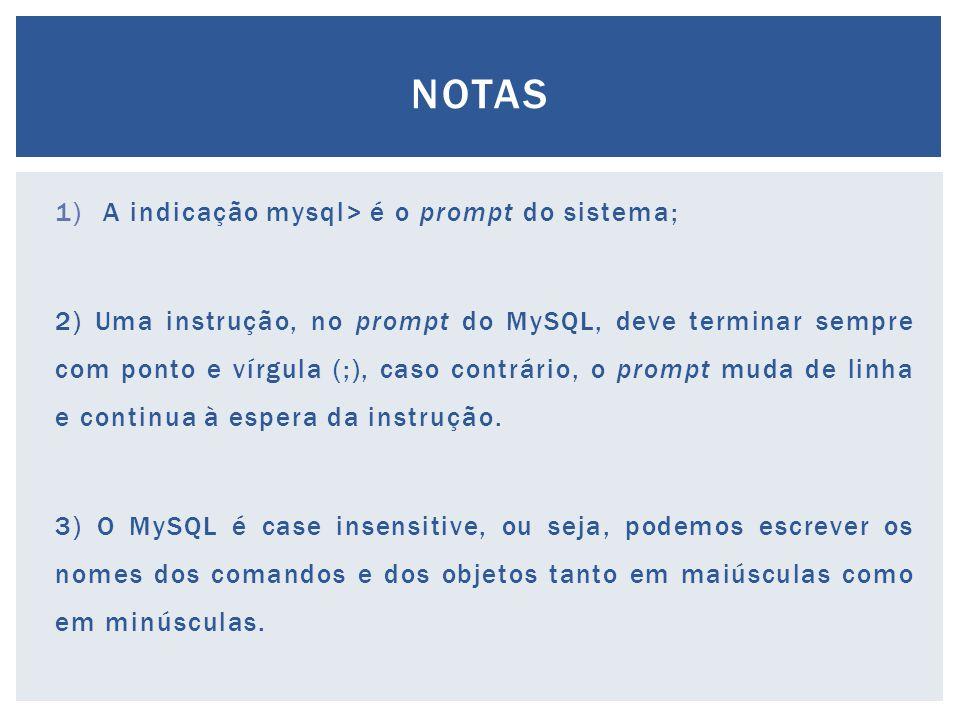 1)A indicação mysql> é o prompt do sistema; 2) Uma instrução, no prompt do MySQL, deve terminar sempre com ponto e vírgula (;), caso contrário, o prom