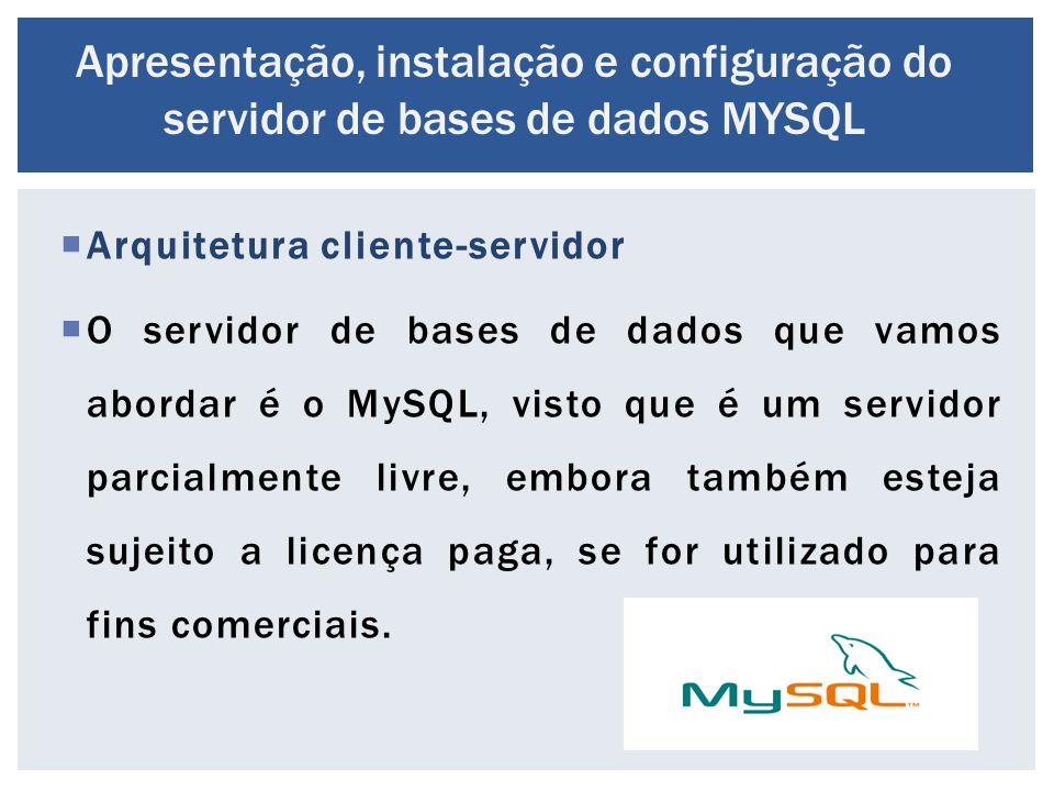  Arquitetura cliente-servidor  O servidor de bases de dados que vamos abordar é o MySQL, visto que é um servidor parcialmente livre, embora também e