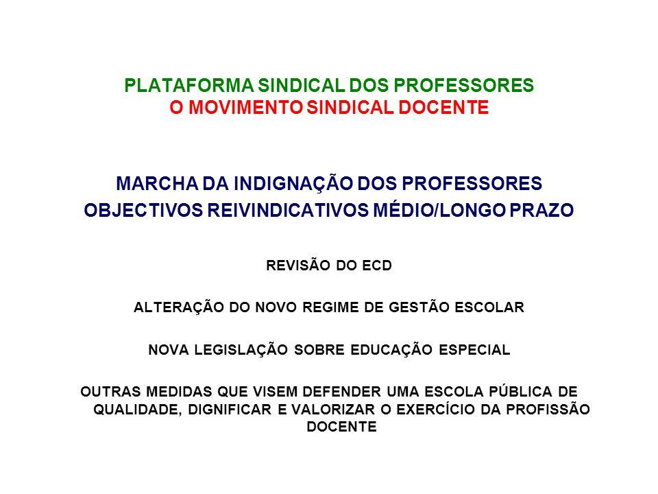MARCHA DA INDIGNAÇÃO DOS PROFESSORES OBJECTIVOS REIVINDICATIVOS MÉDIO/LONGO PRAZO REVISÃO DO ECD ALTERAÇÃO DO NOVO REGIME DE GESTÃO ESCOLAR NOVA LEGISLAÇÃO SOBRE EDUCAÇÃO ESPECIAL OUTRAS MEDIDAS QUE VISEM DEFENDER UMA ESCOLA PÚBLICA DE QUALIDADE, DIGNIFICAR E VALORIZAR O EXERCÍCIO DA PROFISSÃO DOCENTE