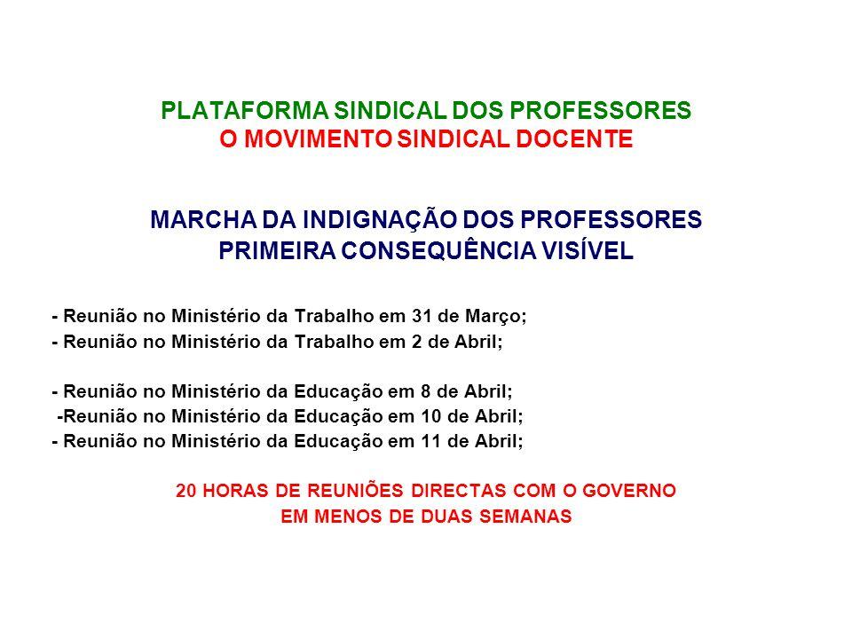 PLATAFORMA SINDICAL DOS PROFESSORES O MOVIMENTO SINDICAL DOCENTE MARCHA DA INDIGNAÇÃO DOS PROFESSORES PRIMEIRA CONSEQUÊNCIA VISÍVEL - Reunião no Ministério da Trabalho em 31 de Março; - Reunião no Ministério da Trabalho em 2 de Abril; - Reunião no Ministério da Educação em 8 de Abril; -Reunião no Ministério da Educação em 10 de Abril; - Reunião no Ministério da Educação em 11 de Abril; 20 HORAS DE REUNIÕES DIRECTAS COM O GOVERNO EM MENOS DE DUAS SEMANAS