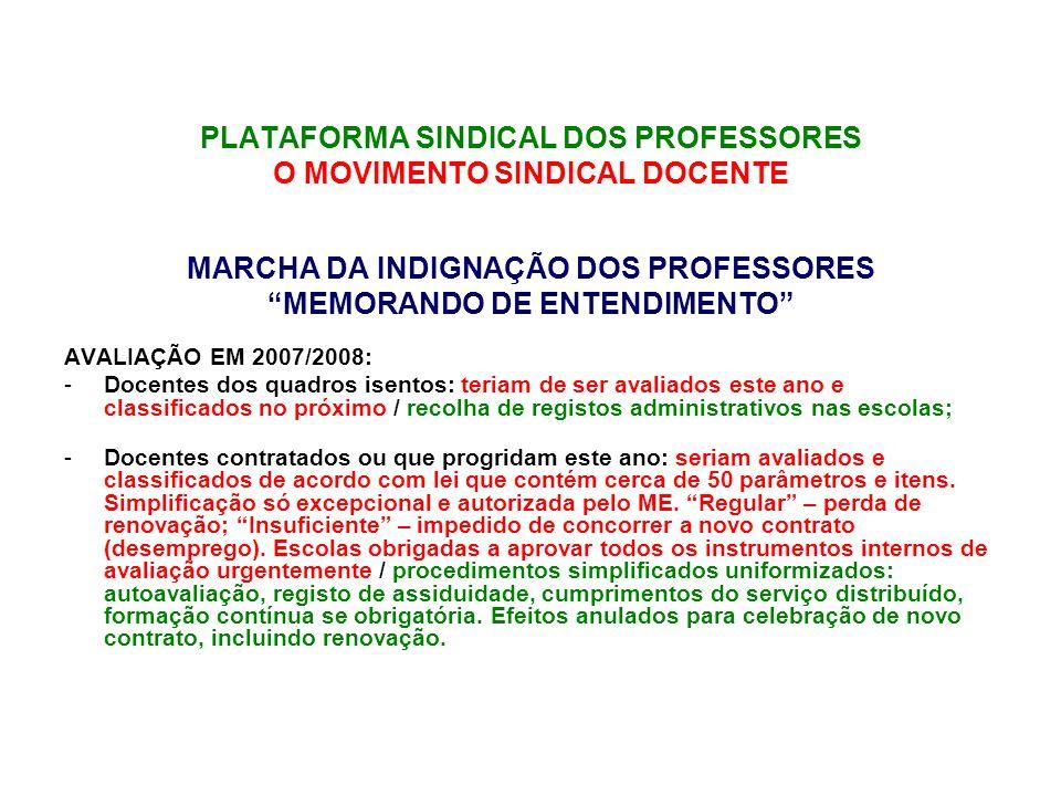 PLATAFORMA SINDICAL DOS PROFESSORES O MOVIMENTO SINDICAL DOCENTE MARCHA DA INDIGNAÇÃO DOS PROFESSORES PRIMEIRA CONSEQUÊNCIA VISÍVEL - Reunião no Minis