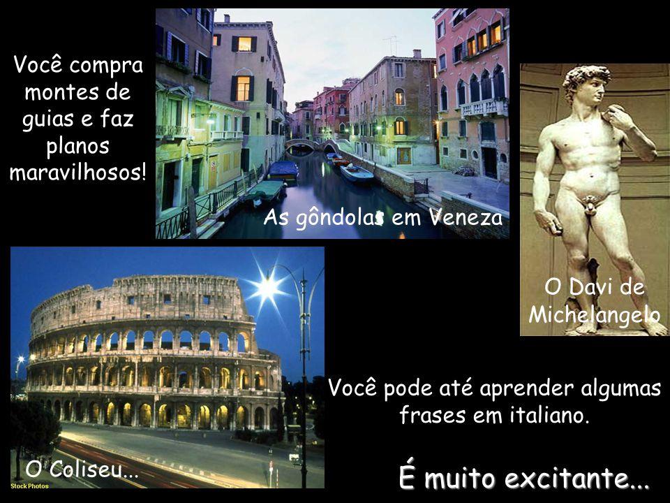 Você compra montes de guias e faz planos maravilhosos! As gôndolas em Veneza O Davi de Michelangelo O Coliseu... Você pode até aprender algumas frases