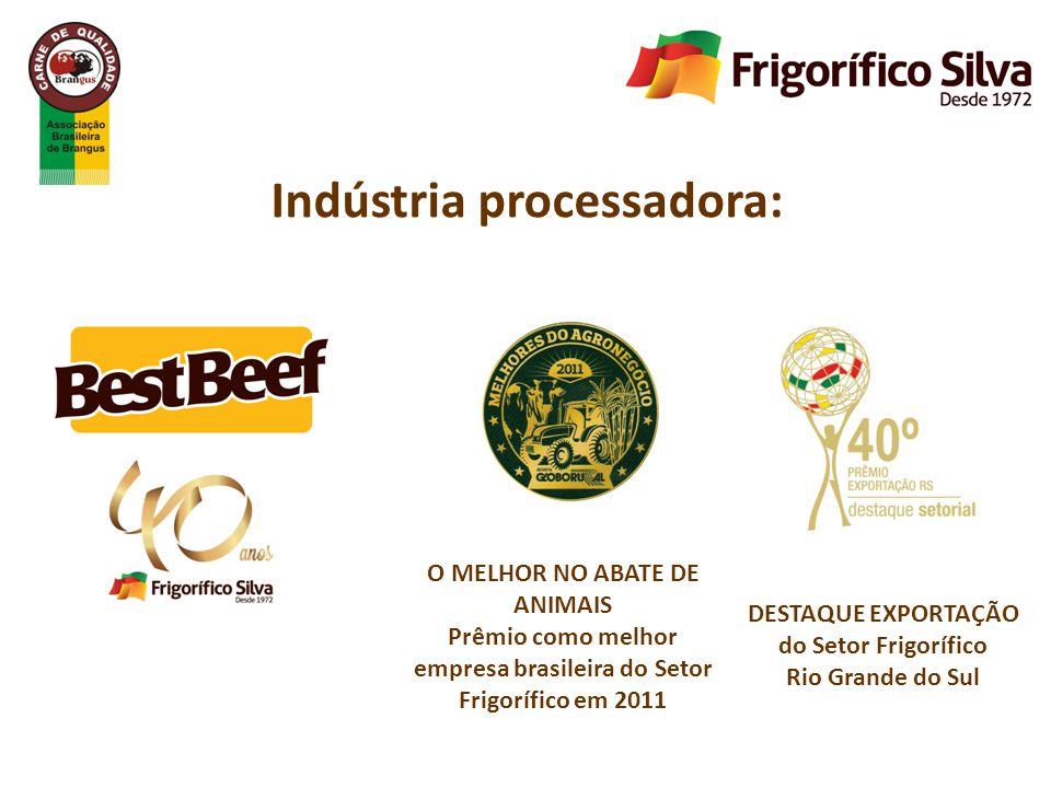 O MELHOR NO ABATE DE ANIMAIS Prêmio como melhor empresa brasileira do Setor Frigorífico em 2011 DESTAQUE EXPORTAÇÃO do Setor Frigorífico Rio Grande do Sul Indústria processadora: