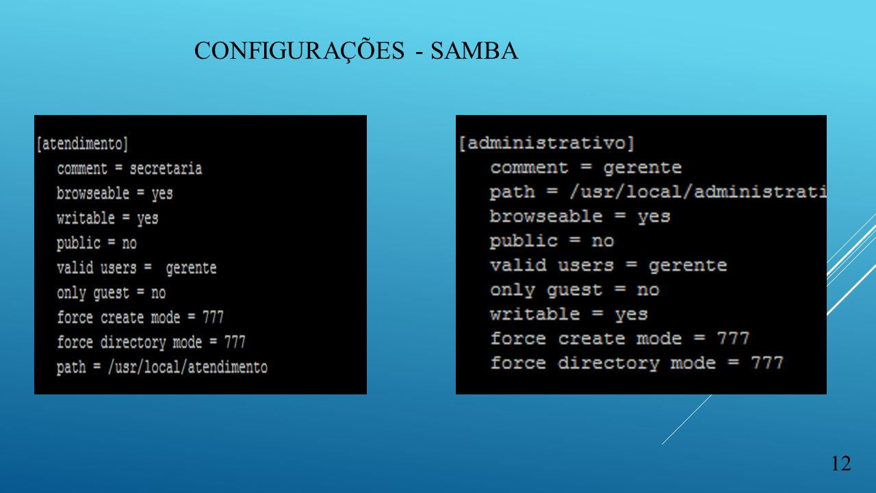 CONFIGURAÇÕES - SAMBA 12