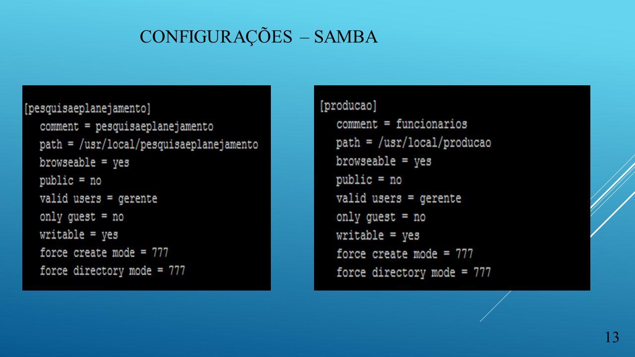 CONFIGURAÇÕES – SAMBA 13