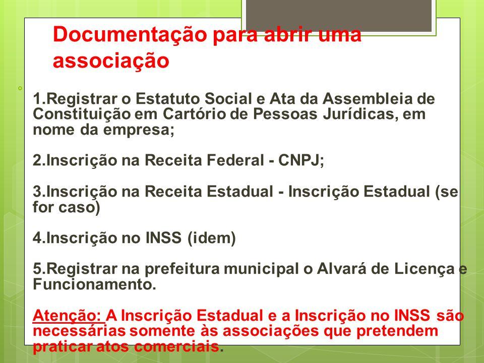 Documentação para abrir uma associação  1.Registrar o Estatuto Social e Ata da Assembleia de Constituição em Cartório de Pessoas Jurídicas, em nome d