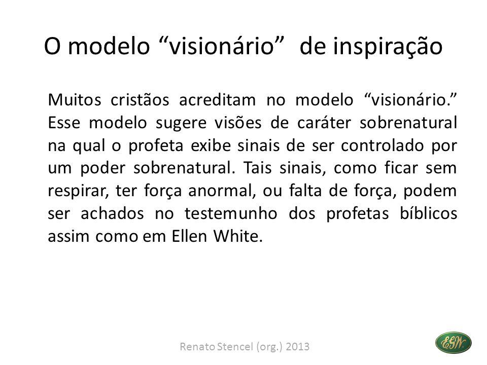 O modelo visionário de inspiração Muitos cristãos acreditam no modelo visionário. Esse modelo sugere visões de caráter sobrenatural na qual o profeta exibe sinais de ser controlado por um poder sobrenatural.